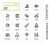 hobby   line design icons set.... | Shutterstock .eps vector #735254731