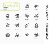 hobby   line design icons set.... | Shutterstock .eps vector #735254731
