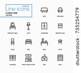 furniture   line design icons... | Shutterstock .eps vector #735254779