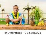 handsome latin american... | Shutterstock . vector #735256021