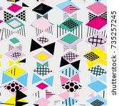 geometric memphis postmodern...   Shutterstock .eps vector #735257245