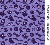 halloween seamless pattern | Shutterstock .eps vector #735258421