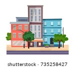 houses on street with road in...   Shutterstock .eps vector #735258427