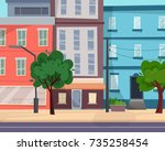 houses on street with road in... | Shutterstock .eps vector #735258454