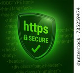 3d shiny shield. secure https... | Shutterstock .eps vector #735259474