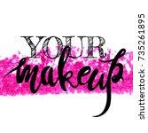 make up logo idea with modern... | Shutterstock .eps vector #735261895
