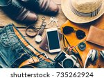 travel accessories costumes.... | Shutterstock . vector #735262924