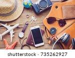 travel accessories costumes.... | Shutterstock . vector #735262927