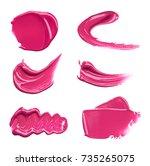 pink makeup smears of lip gloss ...   Shutterstock . vector #735265075