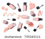 pink nail polish with smears of ... | Shutterstock . vector #735265111