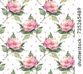 seamless floral pattern with... | Shutterstock . vector #735265489