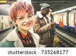 young woman with pink hair and... | Shutterstock . vector #735268177