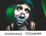 scary cyber skeleton woman face ... | Shutterstock . vector #735268489