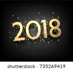golden shining 2018 new year... | Shutterstock .eps vector #735269419