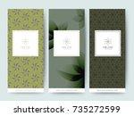 branding packaging tropical... | Shutterstock .eps vector #735272599