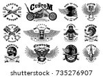 motorcycle vector set with... | Shutterstock .eps vector #735276907