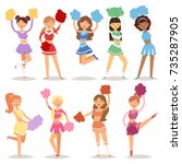 cartoon cheerleaders girls... | Shutterstock .eps vector #735287905