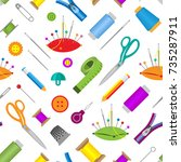 hobby accessories sewing tools...   Shutterstock .eps vector #735287911