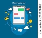 mobile marketing flat design on ...   Shutterstock .eps vector #735288187