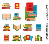 colorful book vector... | Shutterstock .eps vector #735288295