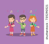 group of cheerful caucasian... | Shutterstock .eps vector #735290521