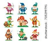 fairy tale fantastic gnome... | Shutterstock .eps vector #735299791