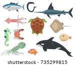 vector sea animals creatures... | Shutterstock .eps vector #735299815