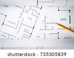 top view of architect drawing... | Shutterstock . vector #735305839