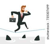 simple cartoon of a businessman ... | Shutterstock .eps vector #735307699