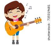 vector illustration of kid girl ... | Shutterstock .eps vector #735319681