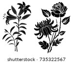 rose and lily and chrysanthemum ... | Shutterstock .eps vector #735322567