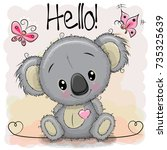greeting card cute cartoon... | Shutterstock .eps vector #735325639