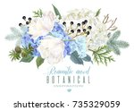 vector floral composition with... | Shutterstock .eps vector #735329059