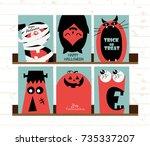 set of vector happy halloween... | Shutterstock .eps vector #735337207