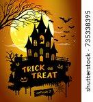 halloween night background... | Shutterstock .eps vector #735338395