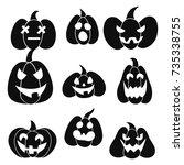 pumpkin set black | Shutterstock . vector #735338755