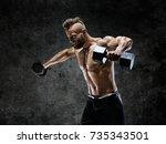 bodybuilder doing the exercises ... | Shutterstock . vector #735343501