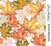autumn leaves on white... | Shutterstock . vector #735347737