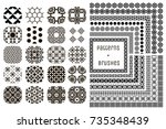 collection of 20 black... | Shutterstock .eps vector #735348439