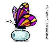 butterfly silkworm.  vector... | Shutterstock .eps vector #735350719