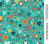 romantic seamless pattern with... | Shutterstock .eps vector #735353314