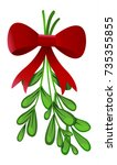 mistletoe with red bow isolated ... | Shutterstock .eps vector #735355855