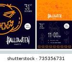 halloween poster. black... | Shutterstock .eps vector #735356731