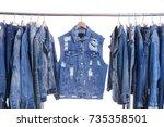 blue denim torn  jacket shirt ... | Shutterstock . vector #735358501