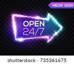 open 24 7 hours. night club... | Shutterstock .eps vector #735361675