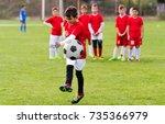 kids soccer football   young...   Shutterstock . vector #735366979