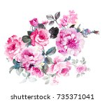 elegant flowers  the leaves and ... | Shutterstock . vector #735371041