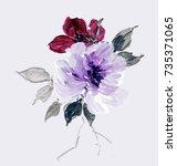 graceful flowers  the leaves... | Shutterstock . vector #735371065