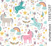 Stock vector seamless pattern with unicorns 735371257