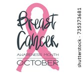breast cancer awareness month   ... | Shutterstock .eps vector #735373681